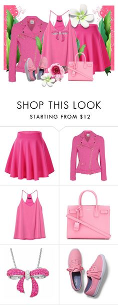 """""""Pink Rules"""" by artistkarstenmouras ❤ liked on Polyvore featuring Boutique Moschino, Banana Republic, Yves Saint Laurent, Amanda Rose Collection, Keds and Gucci"""