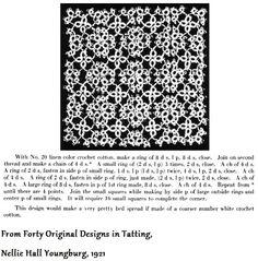 "Vintage Pattern from ""Forty Original Designs in Tatting,"" 1921 #tatting #doily"