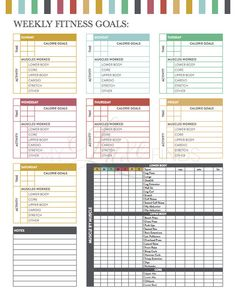 Weekly Fitness Goals Workout Checklist Printable PDF