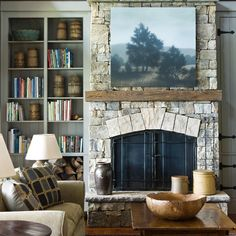 Michael Dines beautiful artwork graces our clients' lake house fireplace…