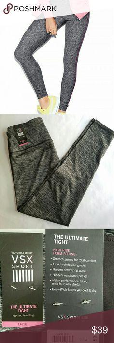 "VSX SPORT Ultimate Tight Yoga Large Grey NWT Victoria's Secret vsx sport ultimate tight in marl grey. 28"" inseam. New with tags. Victoria's Secret Pants Leggings"