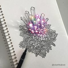 Cambodian artist Visoth Kakvei   27-year-old graphic designer usually draws his works freehand and the pieces take 3-6 hours to finish,  then the artist digitally enhances them, making the doodles appear as if they're popping out from the pages.