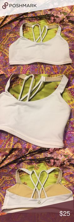 White Criss-Cross Lululemon Sports Bra Super cute lululemon athletica fitness bra. In excellent condition! Best fits A/B cups. Make me an offer! ❤️⛹️️   BUY 3 OR MORE ITEMS FOR 15% OFF! CHEAPER ON MERC, JUST ASK! lululemon athletica Intimates & Sleepwear Shapewear