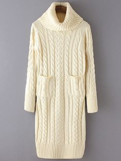 Beige High Neck Cable Knit Pockets Sweater Dress