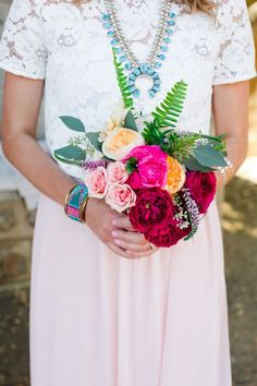 Eclectic boho chic bridesmaid bouquet and look.