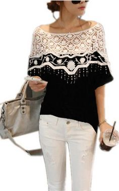 Pretty! Lace Blouse Loose Fit Embroidery with Batwing Sleeves under $9 Only! Click here: http://www.discountqueens.com/pretty-lace-blouse-loose-fit-embroidery-with-batwing-sleeves-under-9-only/