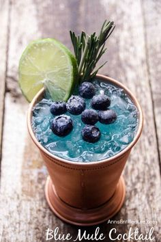 Blue Mule Cocktail Recipe. A fun, sweet update to the classic Moscow Mule, this Blue Mule is a beautiful cocktail drink that tastes great.