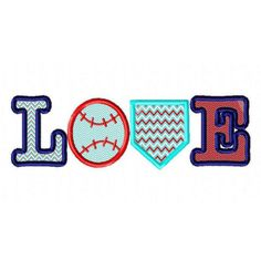 Love Baseball SET Applique Design