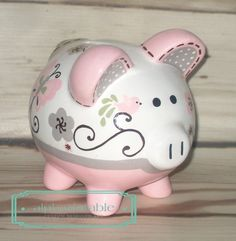 Personalized Piggy bank Artisan hand painted by Alphadorable Personalized Piggy Bank, Piggly Wiggly, Hand Painted Ceramics, Peppa Pig, Decoupage, Artisan, Baby Shower, Cool Stuff, Crafts