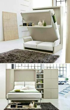 44 Cozy Furniture Design For Small Apartments Space Saving Furniture, Furniture For Small Spaces, Small Rooms, Small Apartments, Bed Design, House Design, Hidden Bed, Small Apartment Decorating, Bed Wall