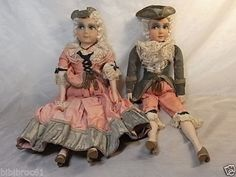 ANCIEN-LOT-2-POUPEE-DE-SALON-MARQUIS-MARQUISE-VINTAGE-BOUDOIR-MODE-ART-DECO-DOLL