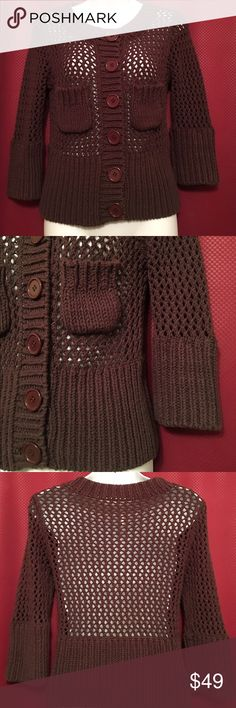 Free People Loose Knit Sweater Brown, loose knitted, button-down sweater/cardigan, two front pockets, 60% cotton, 40% acrylic, size medium, no snags Free People Sweaters