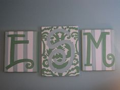 """hang above bed - I didn't trust myself to not screw up the letters, so I left the sides plain. I had an """"H"""" stencil for the center canvas. Looks great."""