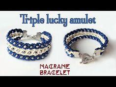 Macrame bracelet tutorial: The triple lucky amulet - Simple but beauty macrame idea craft - YouTube