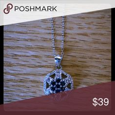 925 Sterling Silver Blue Sapphire Necklace Gorgeous, extremely sparkly, high quality and fun Jewelry Necklaces