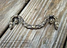 Antique Keeler Brass Co Garland Style Pull in Solid Brass - product image