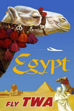 Reclame voor een vakantie met de piramide's en kamelen in Egypte. https://www.hotelkamerveiling.nl