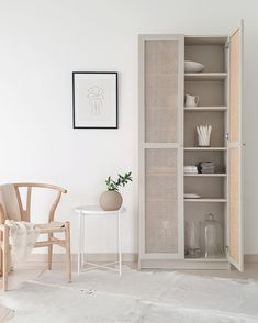 IKEA Billy bookcase hack with custom cane doors Ikea Hackers, Ikea Billy Bookcase Hack, Billy Bookcases, Billy Bookcase With Doors, Ikea Billy Hack, Billy Bookcase Office, Ikea Sideboard Hack, Ikea Shelving Hack, Ikea Pax Hack