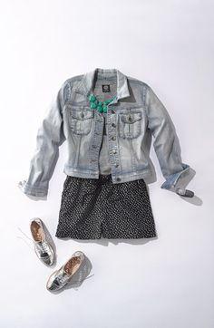 Summer Uniform: Jean Jacket, Polka Dot Shorts, Silver Oxfords, & Turqoise Accessories