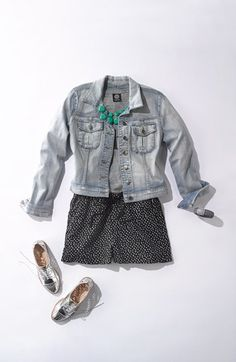Summer Uniform: Jean Jacket, Polka Dot Shorts, Silver Oxfords, & Turqoise Accessories