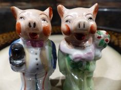 BRIDE And GROOM Victorian Pig Salt and Pepper Shakers - How CUTE! by GOLLYWOODBOULEVARD on Etsy
