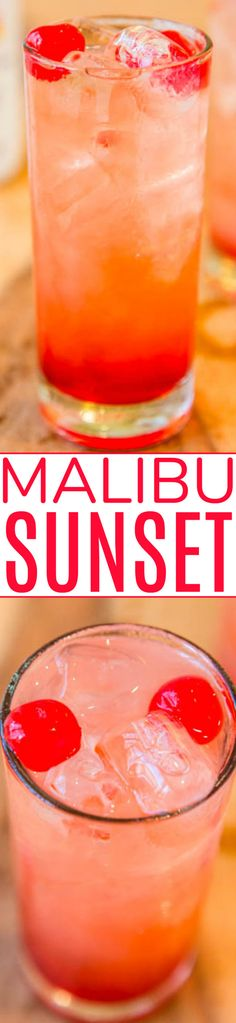 Malibu Sunset A fun fruity easy Malibu drink recipe! Because theres really no wrong way to do pineapple orange juicecoconut rum grenadine and cherries. If youve never had this fruity alcoholic drink before you should change that! Fruity Alcohol Drinks, Alcohol Drink Recipes, Alcoholic Drinks, Punch Recipes, Party Drinks, Cocktail Drinks, Fun Drinks, Beverages, Cocktail Recipes