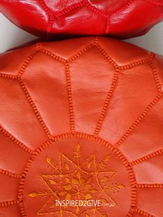 Leather Moroccan Pouff Ottoman, Orange. Red. Inspired2give.com.au