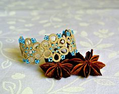 Black lace cuff tatted lace bracelet made in Italy