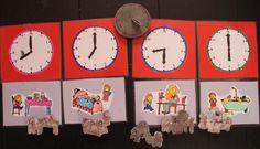 Stempels die te maken hebben met tijd. De kinderen kunnen zelf hun eiegn dagritme stempelen, de wijzers in de klokken zetten en hun plaatjes inkleuren.