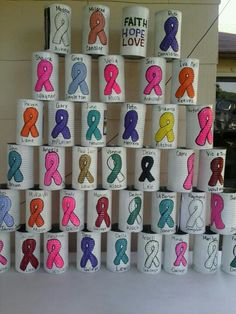 A can with the ribbon for each cancer as a carnival game                                                                                                                                                                                 More