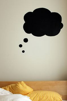 Chalkboard paint... This is brilliant. You could talk to your child about what they want to dream about that night and draw it in the bubble. Especially for kids that are afraid of the dark.