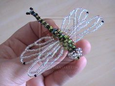Beaded Dragonfly Broach 3 by naztaz on DeviantArt Seed Bead Crafts, Beaded Crafts, Beaded Ornaments, Jewelry Crafts, Beaded Dragonfly, Dragonfly Wings, Beaded Spiders, Beaded Animals, Butterflies