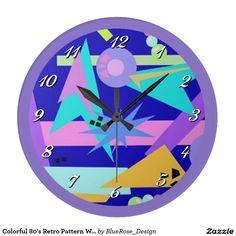 Colorful 80's Retro Pattern Wall Clock