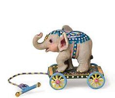 *BABY AFRICAN ELEPHANT ~ cast in metal on a wooden platform w/ metal wheels.  Amanda E. Skinner – Miniatures
