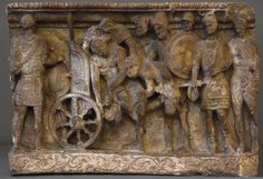 """Front relief of an etruscan cinerary urn """"Menelaus and Meriones lifting Patroclus' corpse on a cart"""". Photo by Ilya Shurygin. Roman Mythology, Greek Mythology, Ancient Greece, Wood Sculpture, Ancient Art, Anthropology, Urn, Archaeology, Florence"""