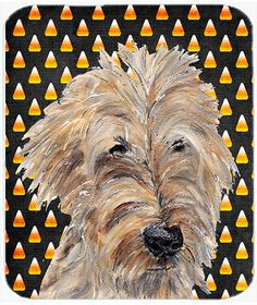 Halloween Candy Corn Goldendoodle Glass Cutting Board