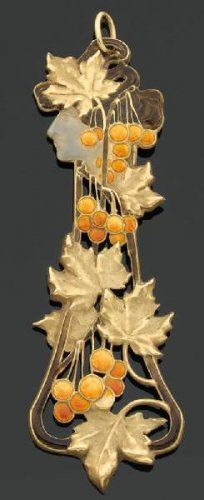 Brooch of woman in profile. René Lalique (1860-1945). ca. 1900. Enamel, gold Dimensions: L. 3 3/4 in. (9.5 cm)Compare to this wintery piece. There's a harmony to the seasons.
