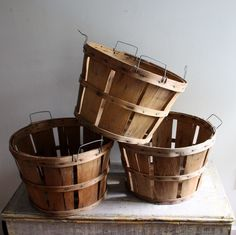 Vintage Orchard Baskets..This would be cool for a candy bar. You could put m&m's and other small candies in them