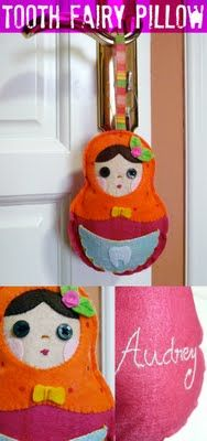 Adorable russian doll tooth fairy pillow