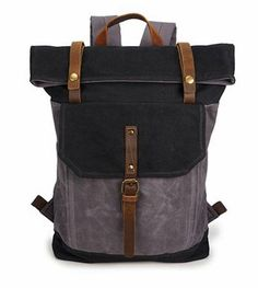 ec2fbe48402cd Waxed Canvas With Leather Unisex Hiking School Backpack