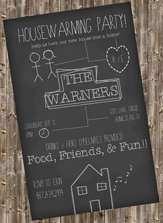 Housewarming Invitation -Chalkboard style on Etsy, $6.00