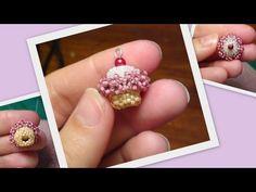 Beaded Cupcake Beading Tutorial by HoneyBeads (Photo tutorial) Beaded Jewelry Patterns, Beading Patterns, Bracelet Patterns, Seed Bead Earrings, Beaded Earrings, Beaded Necklaces, Seed Beads, Diy Jewelry Videos, Beaded Animals