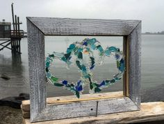 12 x 10 Double beach glass heart. Two hearts connected. Mixed tones of beach glass