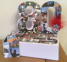 "80th Birthday card (commissioned); Liverpool collage card from ""Alphabet"" cutting craftorium with Bright Heart Lights."