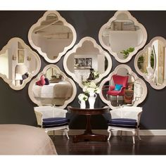 Absolutely love this idea! Fill up an empty wall with statement mirrors. Living Room Modern, Living Room Decor, Vintage Home Decor, Diy Home Decor, Stanley Furniture, Empty Wall, Inspired Homes, Wall Decor, House Design