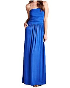 Poppy Smooches Strapless Empire Waist Maxi Dress with Pockets and Ruched Bodice >>> To view further for this item, visit the image link.