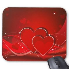 Red hearts mouse pad - Saint Valentine's Day gift idea couple love girlfriend boyfriend design
