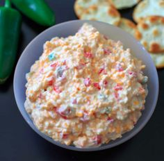 Skinny, spicy pimento cheese is a low-fat version of the classic.  No mayo or cream cheese, add jalapenos.