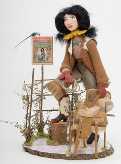 """Lucy Mulhall"", art doll, totally handmade. First cowgirl, Oklahoma."