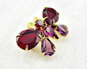 Vintage Joan Rivers Brooch Pin, Rhinestone Gold Butterfly Brooch, Ruby Red & Purple Amethyst Crystal Brooch, 1990s Jewelry, Gift for Her Mom